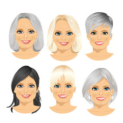 isolated set of mature woman avatar with different hairstyles