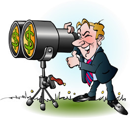 Vector cartoon illustration of a businessman looking through binoculars for money