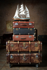 Vintage Luggage from stacked old leather suitcases