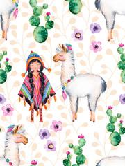 Bezszwowa tekstura z wysokiej jakości ręcznie malowanymi elementami akwarela dla twojego projektu z roślinami kaktusa, kwiatami, śliczną dziewczyną z Indian amerykańskich w tradycyjnym poncho i lama. - 104666474