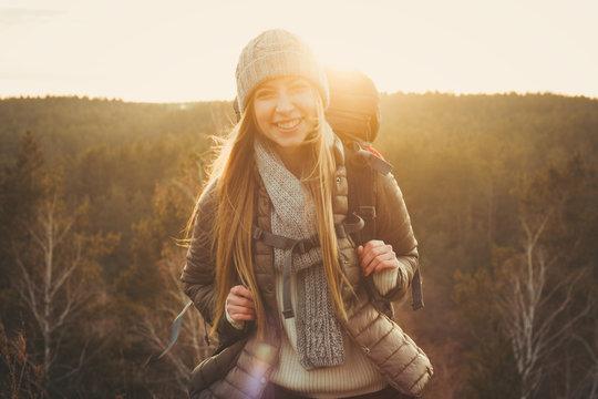 Beautiful caucasian traveling woman, sunset
