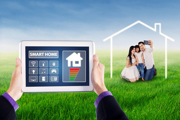 Smart home applications and cheerful family