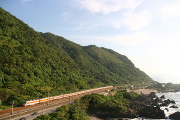 Train with mountain and ocean view