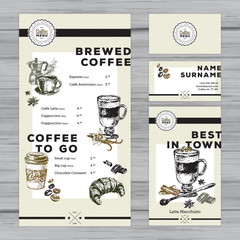 Restaurant coffee menu design. Cafe identity.