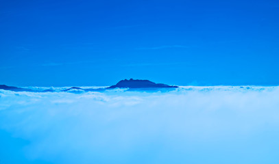 Nature landscape. Blue sky with white clouds.
