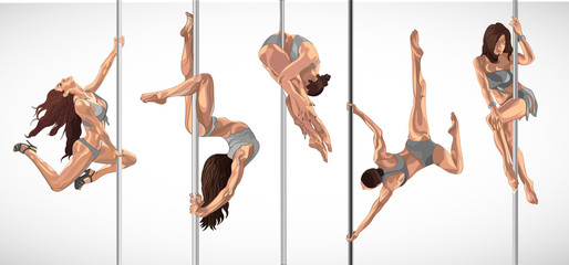 Set of pole dancers, brunette girls hanging on the staves. Women make a tricks on the stage