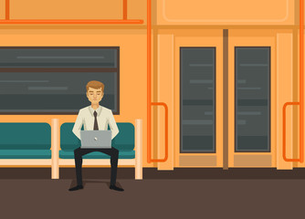 Man with computer in train. Vector flat illustration
