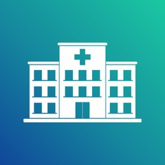Hospital building cross white icon isolated on blue background. Clinic Vector Illustration