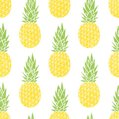 Cartoon pineapple on a white background. Simple vector backgroun