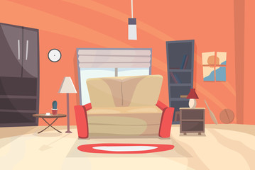 Living room cartoon illustration. eps 10
