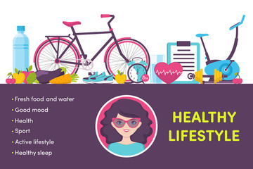 Icons healthy living, sport, food, clock, woman portrait