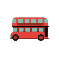 Red Retro City Double Decker Bus