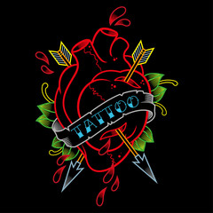 heart with arrows tattoo parlor neon sign