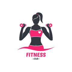 Logo fitness girl silhouette black and red