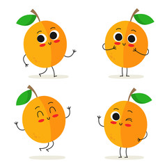 Apricot. Cute fruit character set isolated on white