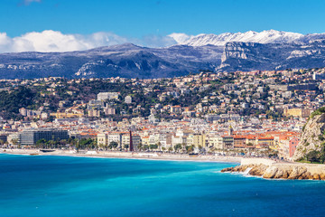 Panoramic view of Villefranche-sur-Mer, Nice, French Riviera. Wall mural