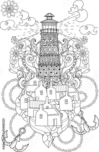 Hand drawn doodle outline lighthouse decorated with floral