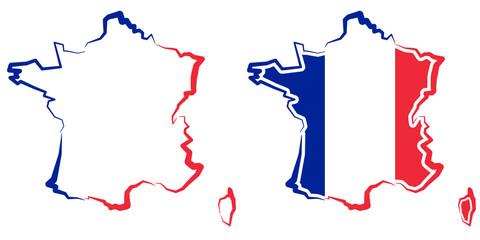 Fototapeta Mapa Francji - kontur - barwy