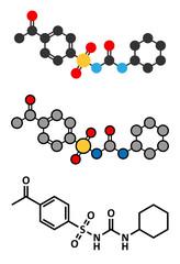 Acetohexamide diabetes drug molecule.