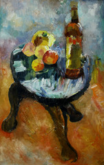 Oil painting still life with on a chair apple and peaches in the style of impressionism in bright colors   On Canvas
