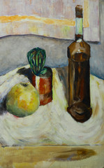 Oil painting still life with  cactus apple bottle of alcohol in impressionist style On Canvas