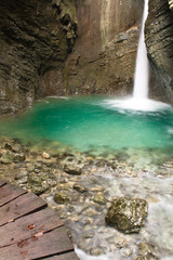 close-up portrait of wonderful waterfall Kozjak, Slovenia in long exposure
