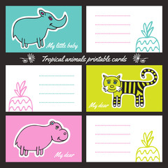 Tropic animals printable cards
