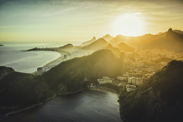 Aerial view of Copacabana at sunset in Rio de Janeiro