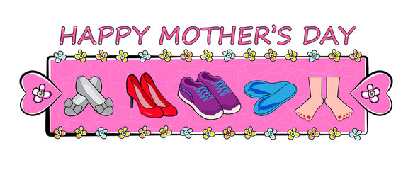 Mother's Day Banner - Happy mother's day festive banner with different types of shoes on pink decorative background. Eps10