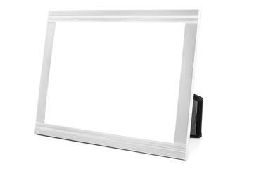 Aluminum decorative photo frame on white background