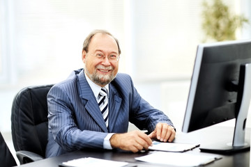successful businessman working with documents in the office