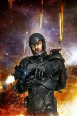 Wall Mural - Futuristic soldier in combat