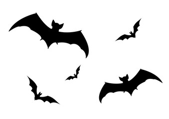 Set of bats silhouette vector