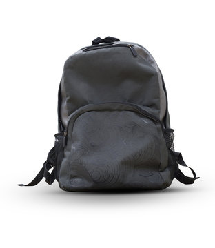 black backpack isolated on a white background [clipping path]