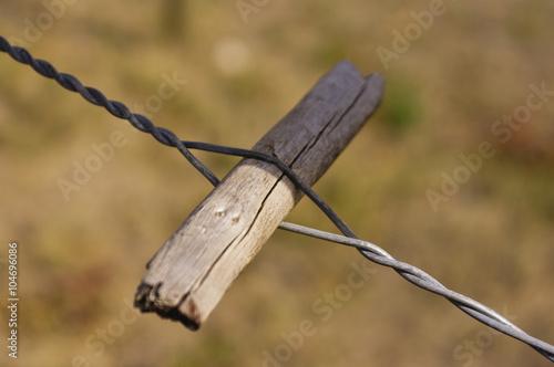 Twitch stick or spanish windlass fence wire tightener\