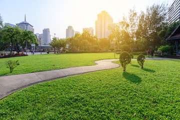 Beautiful urban park in sunny day of Bangkok city, Thailand.