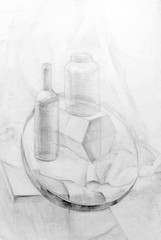 academic drawing pencil, still life. nature morte, graphic, training