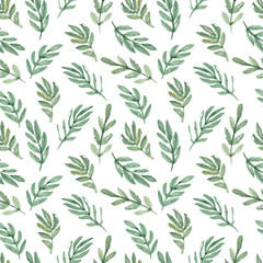 hand drawn watercolor leaf seamless pattern. Vector floral background