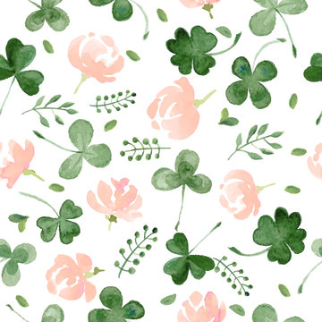 Watercolor Clover and little flowers seamless vector pattern.
