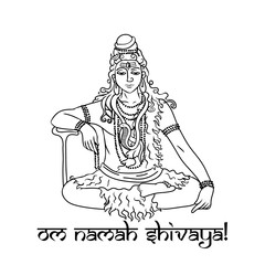 cartoon doodle lord Shiva sitting in lotus pose in meditation