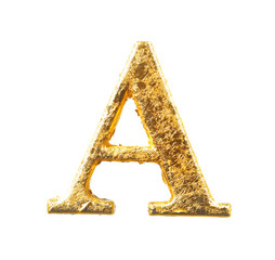 Alphabet and numbers in gold leaf