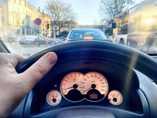 driving a car in traffic