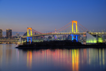 東京 レインボーブリッジのライトアップ 東京の夜景