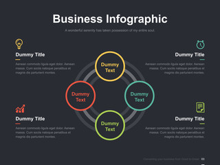 Flat business presentation vector infographic slide template with diagram