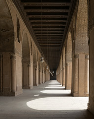 One of the passages surrounding  the courtyard of the Mosque of