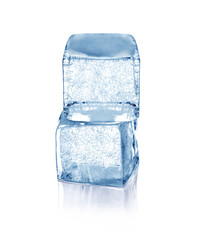 Cubes of blue ice isolated on a white background