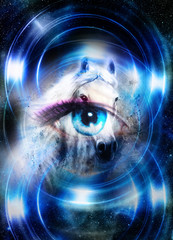 Horse in space and woman eye and circle light. Animal concept.       Winter effect and blue color.