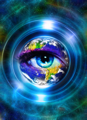 Planet Earth in light circle and woman eye, Cosmic Space background. Computer collage. Earth concept. Planet earth in light rays. Elements of this image furnished by NASA.