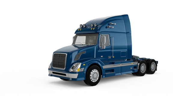 Dark blue american truck isolated on white background