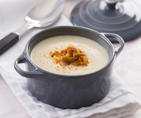 Cream soup in a small cooking pot